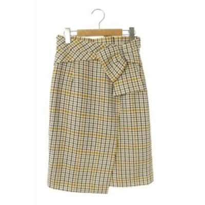 【中古】ジャスグリッティー JUSGLITTY デザインチェックタイトスカート ひざ丈 1 茶 /MN ■OS レディース