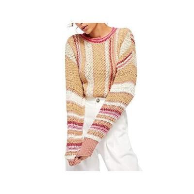 Free People Womens Beige Pinstripe Long Sleeve T-Shirt Sweater Size XS並行輸入品