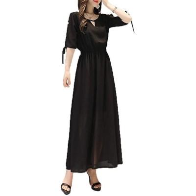 【COLINY】ロング ワンピース 快適 ウエストゴム きれいめ 7分 袖 シフォン ドレス 結婚式(ブラック, L)