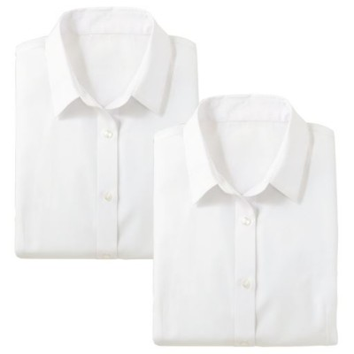 形態安定2枚組レギュラーカラーシャツ(七分袖)(洗濯機OK)/ホワイト(ホワイト+ホワイト)/LL