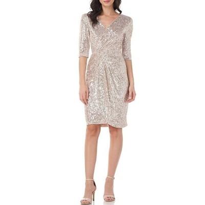 ジェイエスコレクションズ レディース ワンピース トップス Sequin Faux Wrap Knee Length Dress Champagne