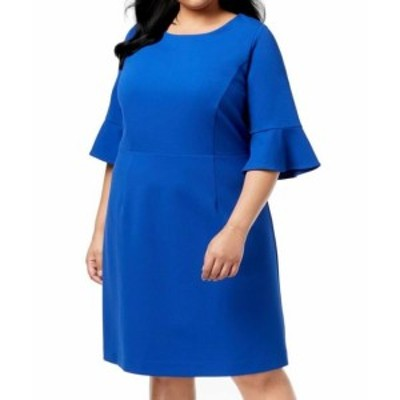 bell ベル ファッション ドレス Betsey Johnson Womens Dress Blue Size 18W Plus Shift Bell Sleeve