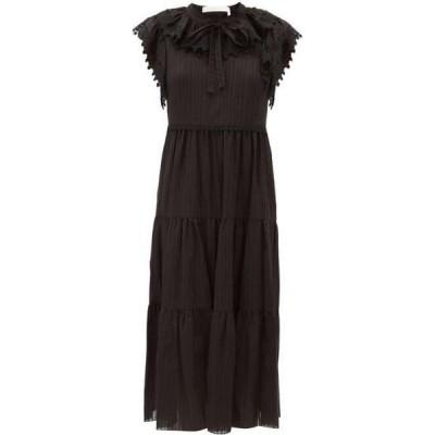クロエ See By Chloe レディース ワンピース ミドル丈 ワンピース・ドレス Ruffled cotton-voile midi dress Black