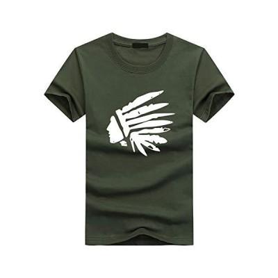 N2 storm(エヌツーストーム) メンズ 半袖 Tシャツ カットソー インディアン 民族 プリント アメカジ トップス HT11 (Cグ