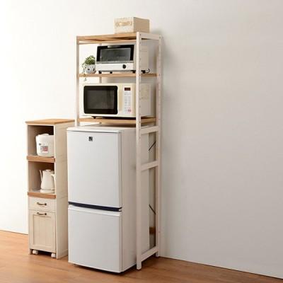 冷蔵庫ラック 幅59cm ナチュラル/ホワイトウォッシュ キッチン収納 電子レンジ 収納棚 高さ調節 おしゃれ
