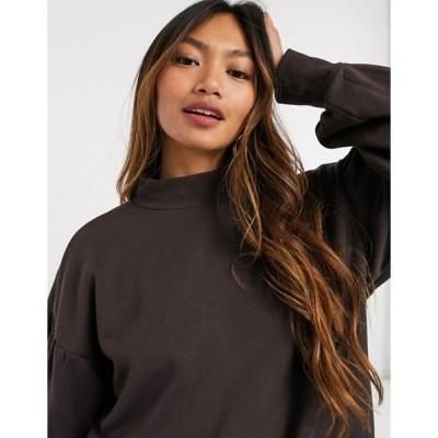 ヴェロモーダ レディース シャツ トップス Vero Moda high neck sweatshirt in chocolate brown