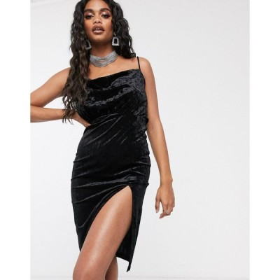 アイビーラベル ミディドレス レディース Ivyrevel velvet midi dress with thigh split in black エイソス ASOS ブラック 黒
