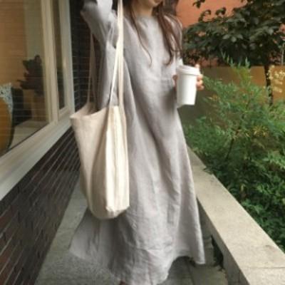 リネンワンピース ナチュラル ワンピース  秋服 韓国 ファッション レディース  秋 フレイドヘム 7分袖 オーバーサイズ ロングワンピー