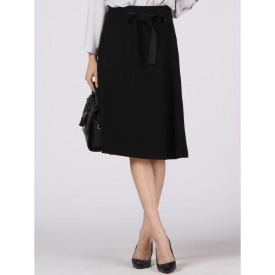 ≪洗濯機で洗える≫共布リボン付きダブルサテンフレアスカート