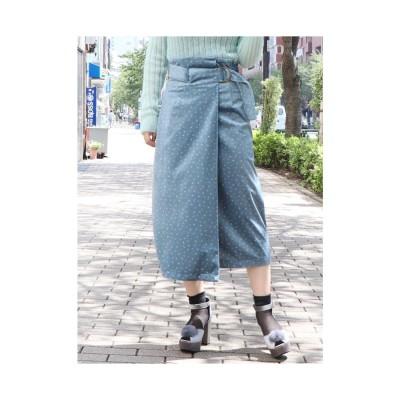 dazzlin ベロアプリントスカート ブルー