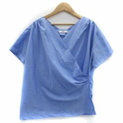 【中古】グレイル GRL シャツ ブラウス 半袖 カシュクール ストライプ柄 F ライトブルー 水色 /YM29 レディース