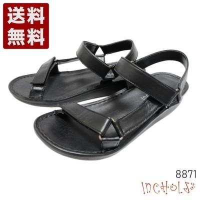 【インコルジェ88871 ブラック】ストラップスポーツサンダル