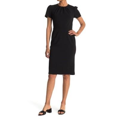 マギーロンドン レディース ワンピース トップス Pleated Neck Short Sleeve Sheath Dress BLACK
