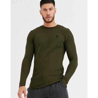 リバーアイランド River Island メンズ 長袖Tシャツ トップス Long Sleeved T-Shirt With Rose Embroidery In Khaki グリーン