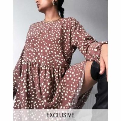 リクレイム ヴィンテージ Reclaimed Vintage レディース ワンピース ワンピース・ドレス Inspired Long Sleeve Spot Smock Dress In Choc