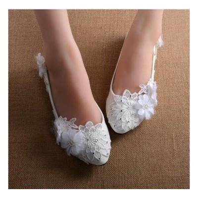 ウェディングシューズ レディース靴 パンプス  ビジュー 美脚 フラットシューズ ハイヒール 履きやすい 結婚式 二次会
