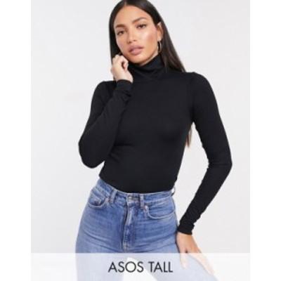 エイソス レディース シャツ トップス ASOS DESIGN Tall ultimate turtle neck long sleeve top in black Black