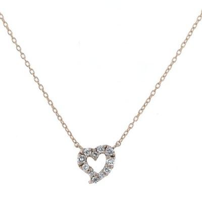 WISP ウィスプ K18PG ピンクゴールド ネックレス ダイヤモンド 0.08ct オープンハート シンプル 40.5cm【新品仕上済】【el】【中古】