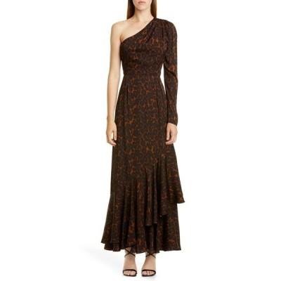アーデム レディース ワンピース トップス One-Shoulder Tier Hem Twill Dress CAMEL / BROWN