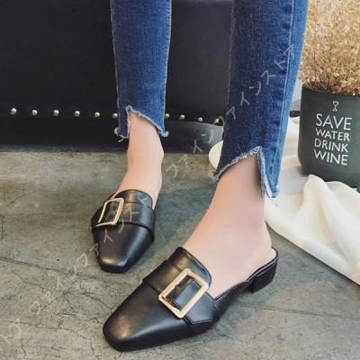ミュール レディース サンダル カジュアル チャンキーヒール シンプル 黒 歩きやすい 美脚 可愛い 疲れない 靴 スリッパサンダル サボサンダル おしゃれ