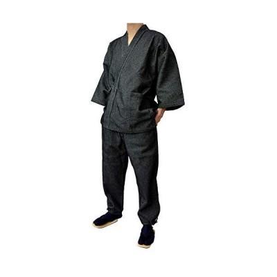 作務衣「遠州先染」厚地変り刺子 (LL, 黒)