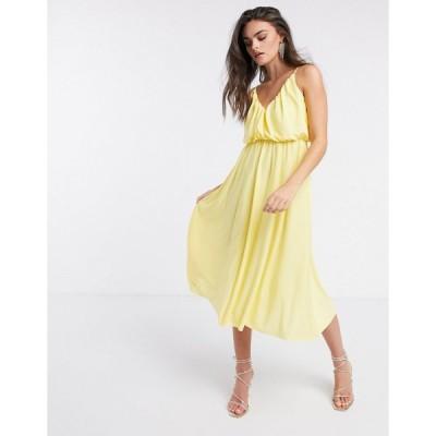 エイソス ミディドレス レディース ASOS DESIGN cami plunge midi dress with blouson top in lemon エイソス ASOS