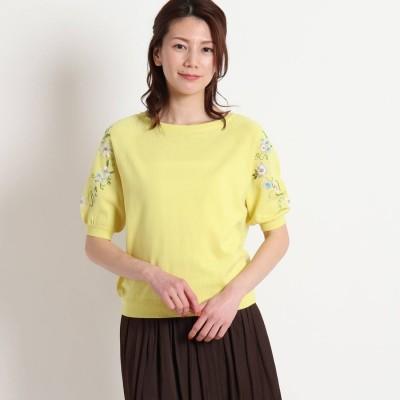スーナウーナ SunaUna 【洗える】フラワー刺繍5分袖ニット (レモンイエロー)