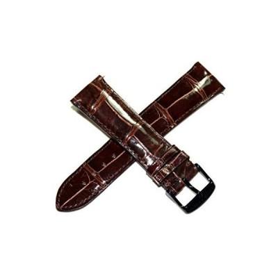 Swiss Legend 23mm 光沢ブラウン 本革 ワニ革 腕時計ベルト ブラック ステンレス バックル 42mm Crusader対応