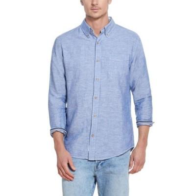 ウェザープルーフ メンズ シャツ トップス Men's Solid Linen Long Sleeve Shirt