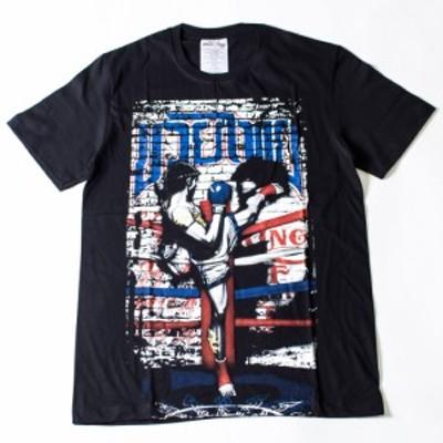 ムエタイ プリント Tシャツ メンズ ボクシング トレーニング 半袖 カットソー 綿 コットン