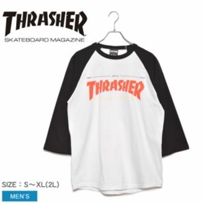 スラッシャー 長袖Tシャツ メンズ フォーティイヤーズ ホワイト 白 ブラック 黒 THRASHER TH92283 ロゴ ストリート スケーター ブランド