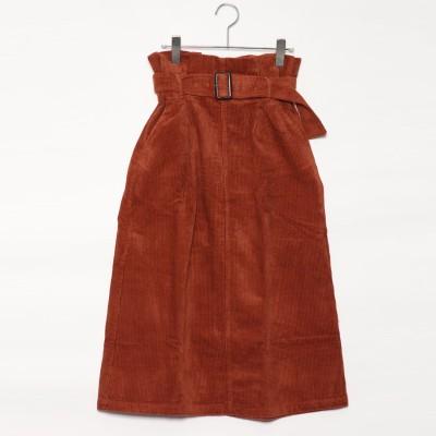 スタイルブロック STYLEBLOCK コーデュロイハイウエストロングスカート (オレンジ)