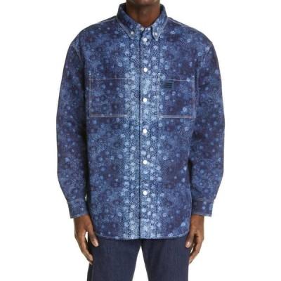バーバリー BURBERRY メンズ シャツ デニム トップス Fish Scale Print Denim Snap Shirt Dark Canvas Blue