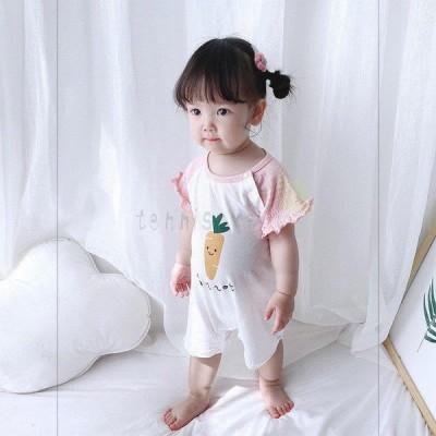 ベビー服 ロンパース 新生児 女の子 夏服 人参画像 半袖 可愛い 赤ちゃん 格安 おしゃれ カバーオール