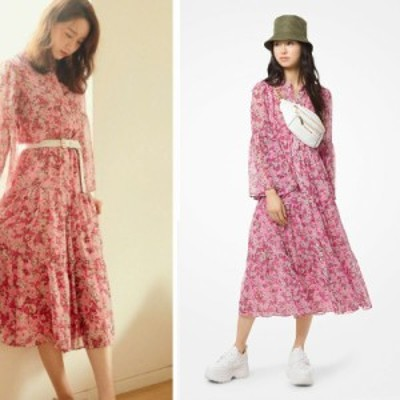 エンシャンティッド ブルーム ドレス ワンピース ピンク シフォン ティアード フローラル 花柄