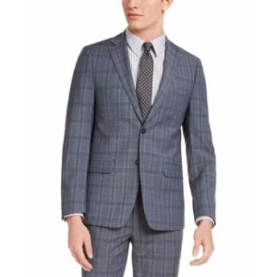 カルバンクライン メンズ ジャケット・ブルゾン アウター Men's Skinny-Fit Gray/Blue Plaid Suit Jacket Grey / Blue