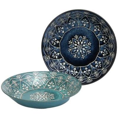 マルサン近藤(Marusankondo) カレー皿 青 緑 プレート/φ20.5×h4 モロッカン ペアカレーセット 01563
