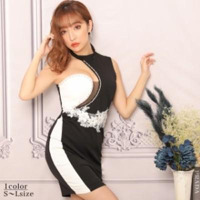 キャバ ドレス アシメ ショルダー モノトーン 刺繍 タイト ミニ ドレス | ドレス キャバ キャバドレス 大きいサイズ ドレス ワンピース