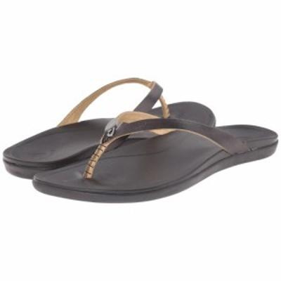 オルカイ OluKai レディース ビーチサンダル シューズ・靴 Hoopio Leather Onyx/Black
