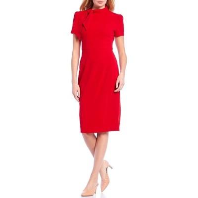 マギーロンドン レディース ワンピース トップス Petite Size Tie Neck Puff Sleeve Stretch Crepe Sheath Dress Red