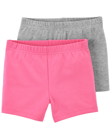 Carter's 休閒2件組短褲-粉灰 (3T-5T)