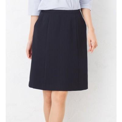 女性の悩みを解決!機能満載のストライプAラインスカート 事務服 オフィス制服 ひざ丈 きれいめ