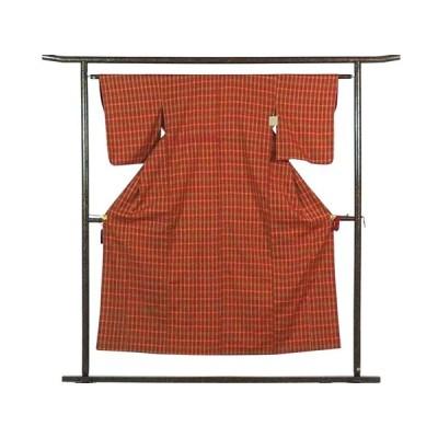 リサイクル着物 紬 正絹赤茶地格子柄袷真綿紬着物