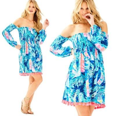ワンピース リリーピュリッツァー Lilly Pulitzer TRINA OFF THE SHOULDER BEACH DRESS Sparkling Blue S XL