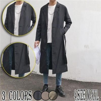メンズチノコートコートトップスワイドアウター男性ロング丈3色ジョーカーファッションウォッシュ20代30代40代50代大きいサイズ