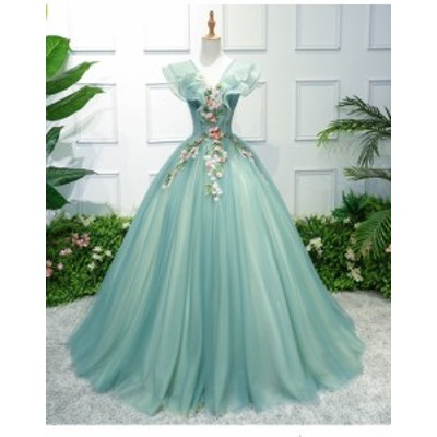 プリンセス ロングドレス パーティドレス ワンピース  カラードレス チュールスカート 緑 Vネック  パニエ付 結婚式 舞台 発表会 D135