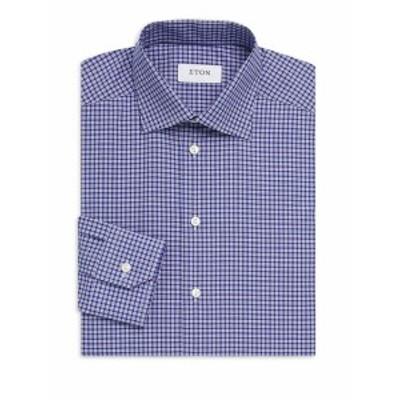 イートン メンズ ドレスシャツ ワイシャツ Gingham Cotton Dress Shirt