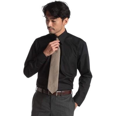 (モードイズム) MODE ISM 形態安定 3Dパターン レギュラーカラー 長袖 ワイシャツ ブラック/M