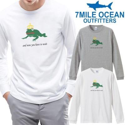 メンズ Tシャツ 長袖 ロングTシャツ ロンt プリント アメカジ 大きいサイズ 7MILE OCEAN カエル 絵本