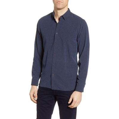 テッドベーカー TED BAKER LONDON メンズ シャツ トップス Geo Print Slim Fit Button-Up Shirt Navy